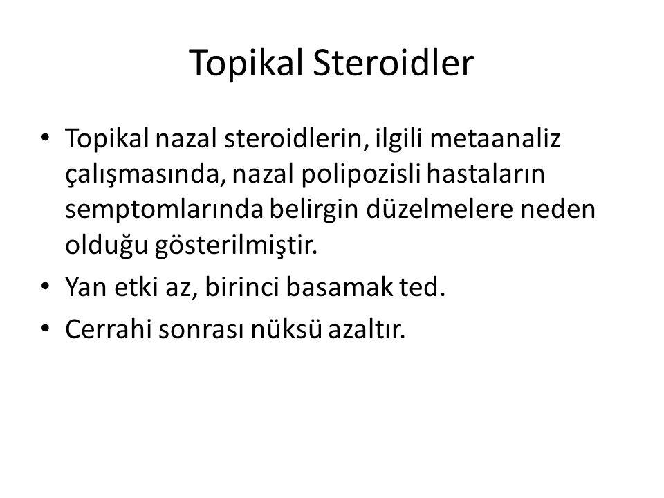 Topikal Steroidler Topikal nazal steroidlerin, ilgili metaanaliz çalışmasında, nazal polipozisli hastaların semptomlarında belirgin düzelmelere neden