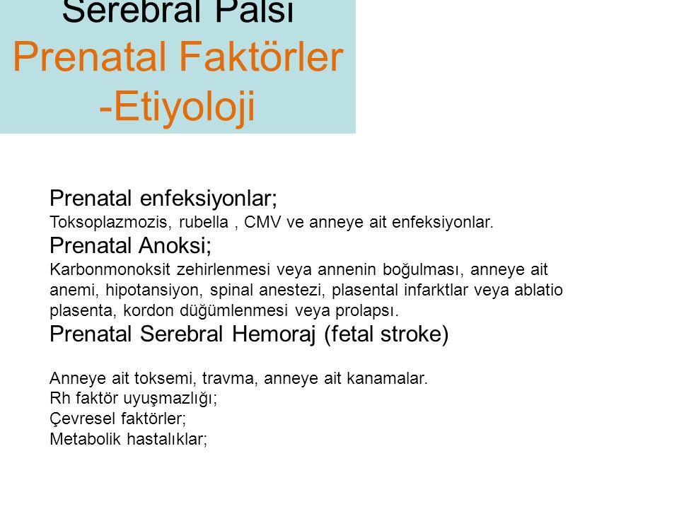 Prenatal enfeksiyonlar; Toksoplazmozis, rubella, CMV ve anneye ait enfeksiyonlar. Prenatal Anoksi; Karbonmonoksit zehirlenmesi veya annenin boğulması,