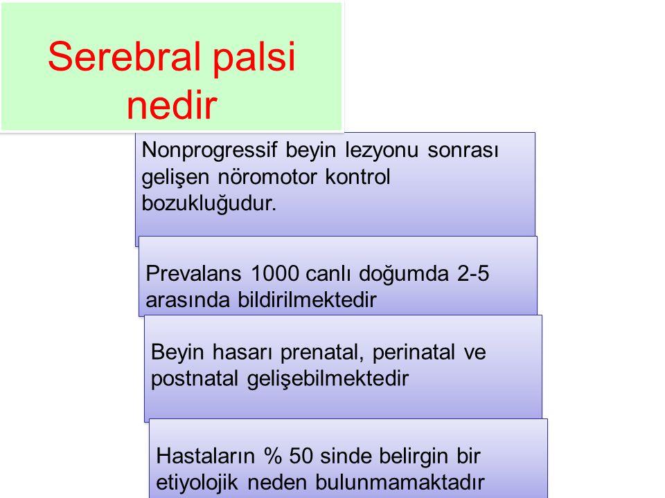 SINIFLAMA Fonksiyonel –The gross motor function classification system –Modifiye Ashworth skalası –Pediatric evaluation of disability inventory