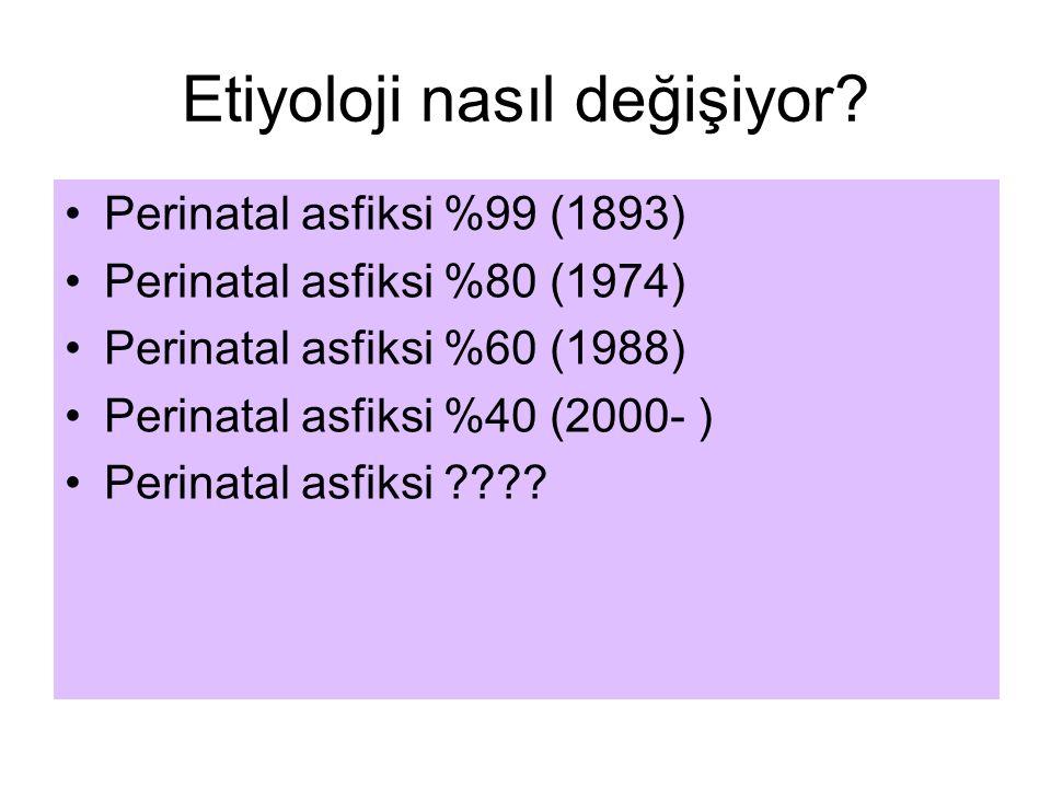 Etiyoloji nasıl değişiyor? Perinatal asfiksi %99 (1893) Perinatal asfiksi %80 (1974) Perinatal asfiksi %60 (1988) Perinatal asfiksi %40 (2000- ) Perin