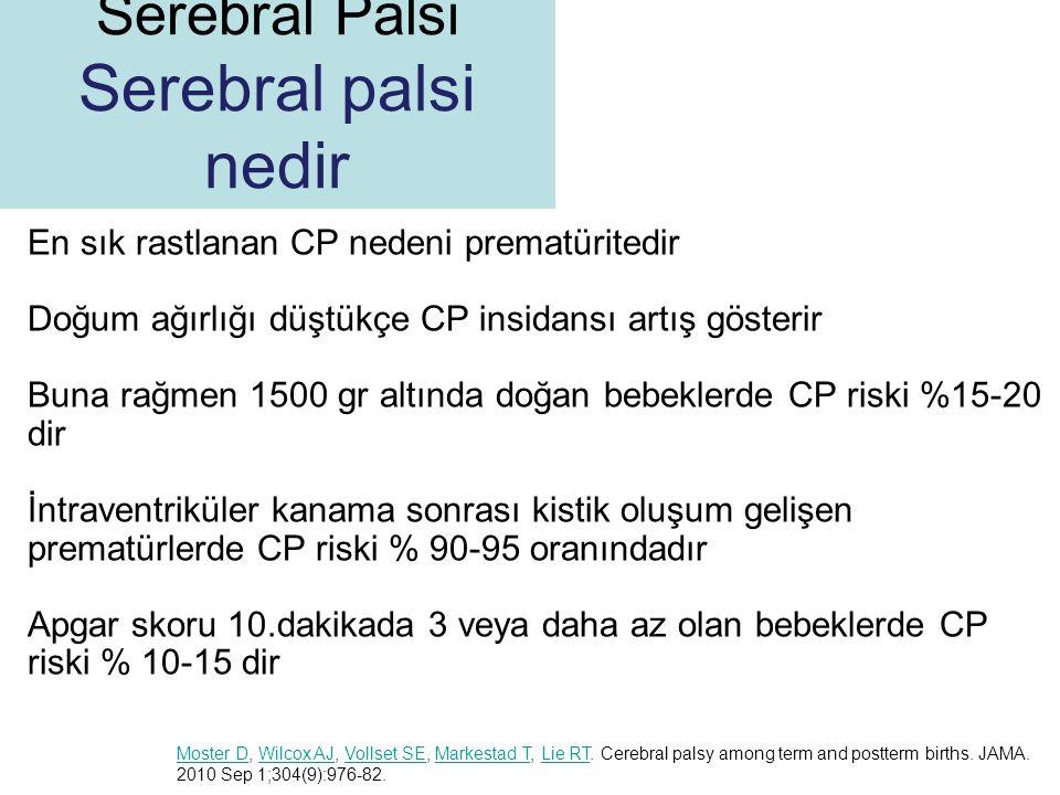 En sık rastlanan CP nedeni prematüritedir Doğum ağırlığı düştükçe CP insidansı artış gösterir Buna rağmen 1500 gr altında doğan bebeklerde CP riski %1