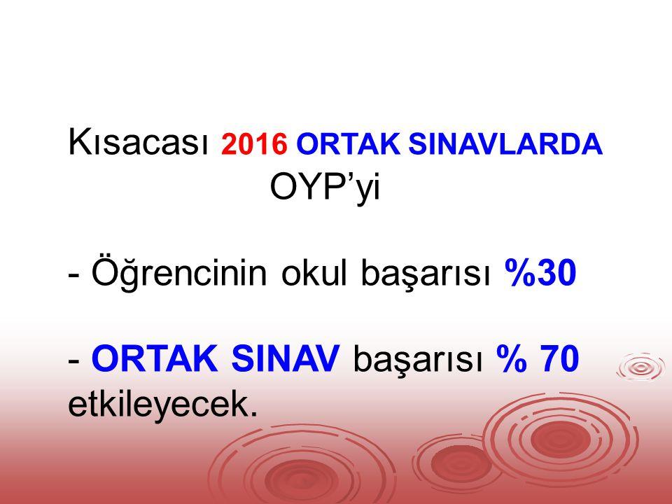 Kısacası 2016 ORTAK SINAVLARDA OYP'yi - Öğrencinin okul başarısı %30 - ORTAK SINAV başarısı % 70 etkileyecek.