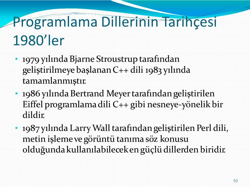 Programlama DillerininTarihçesi 1980'ler 10 1979 yılında Bjarne Stroustrup tarafından geliştirilmeye başlanan C++ dili 1983 yılında tamamlanmıştır. 19