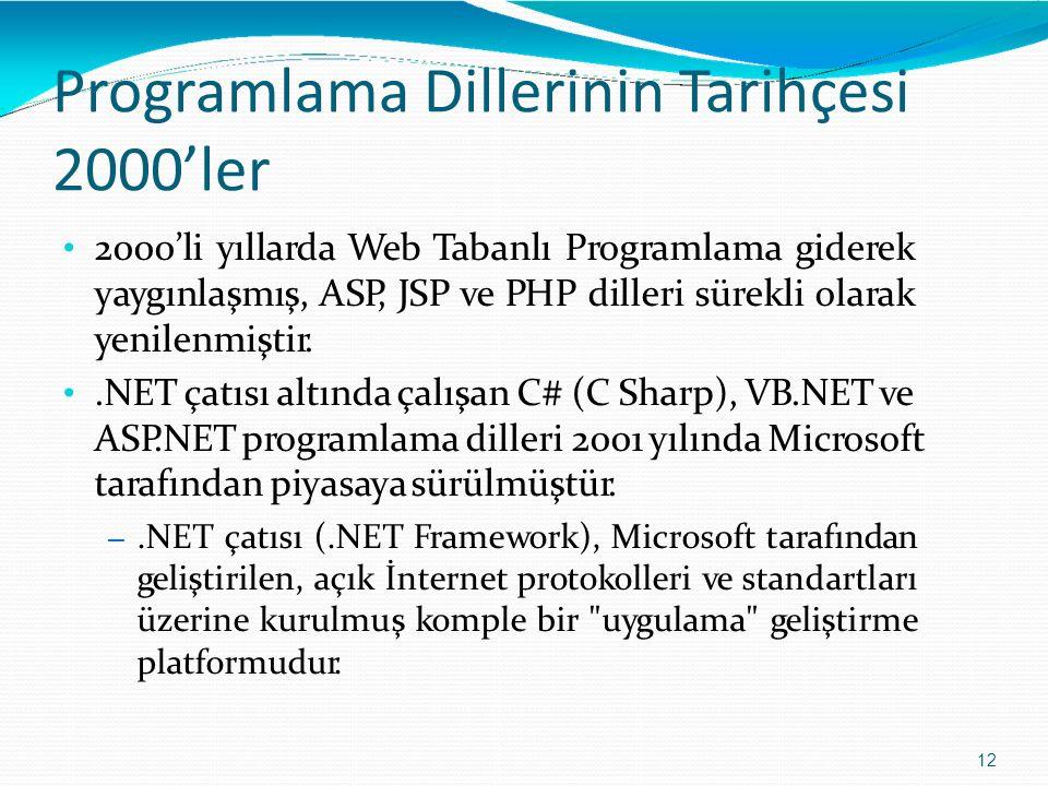 Programlama DillerininTarihçesi 2000'ler 12 2000'li yıllarda Web Tabanlı Programlama giderek yaygınlaşmış, ASP, JSP ve PHP dilleri sürekli olarak yeni