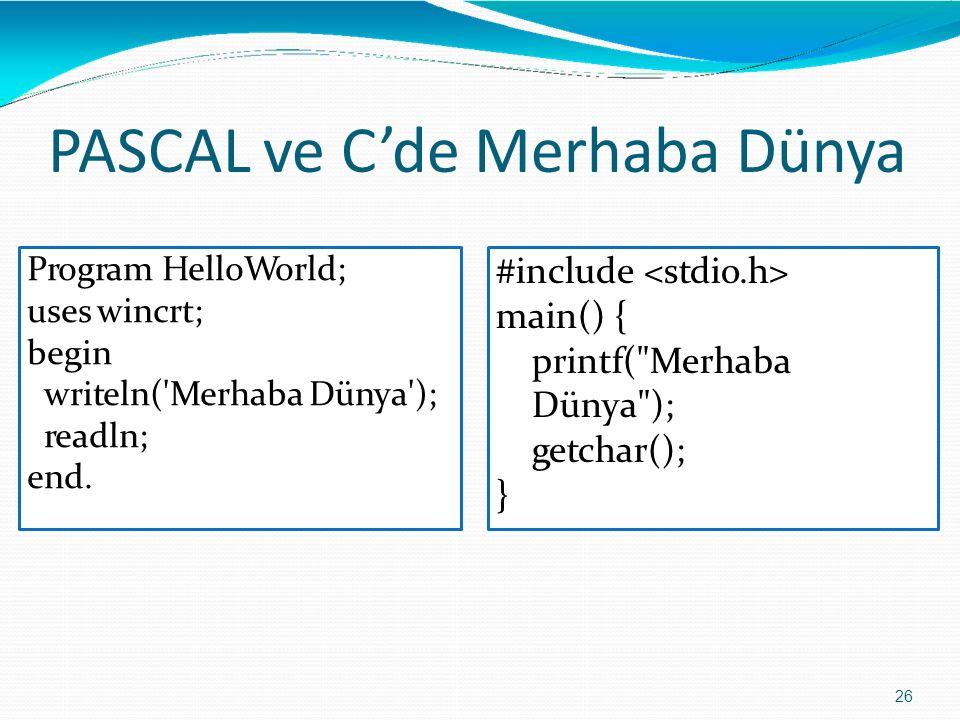 PASCAL ve C'de Merhaba Dünya Program HelloWorld; uses wincrt; begin writeln('Merhaba Dünya'); readln; end. #include main() { printf(