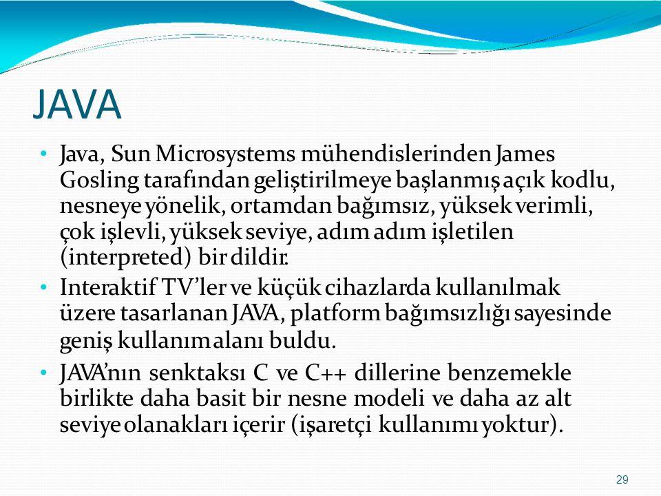 JAVAJAVA 29 Java, Sun Microsystems mühendislerinden James Gosling tarafından geliştirilmeye başlanmış açık kodlu, nesneye yönelik, ortamdan bağımsız,