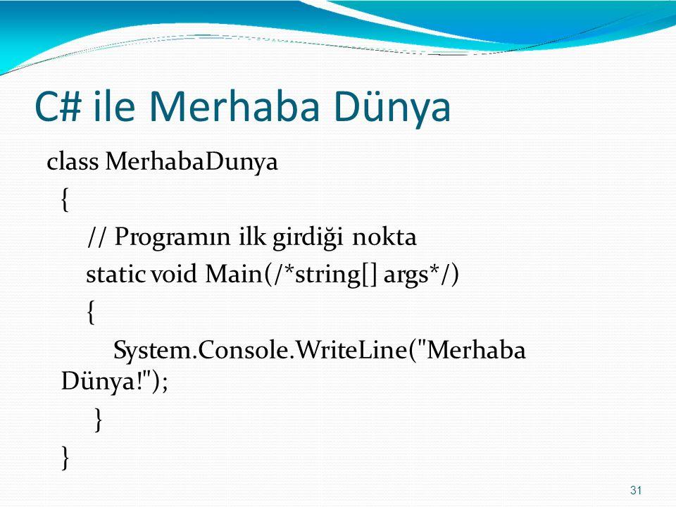 C# ile Merhaba Dünya 31 class MerhabaDunya { // Programın ilk girdiği nokta static void Main(/*string[] args*/) { System.Console.WriteLine(
