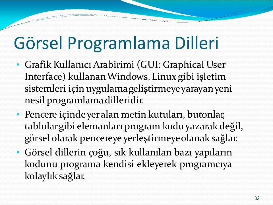 Görsel Programlama Dilleri 32 Grafik Kullanıcı Arabirimi (GUI: Graphical User Interface) kullanan Windows, Linux gibi işletim sistemleri için uygulama