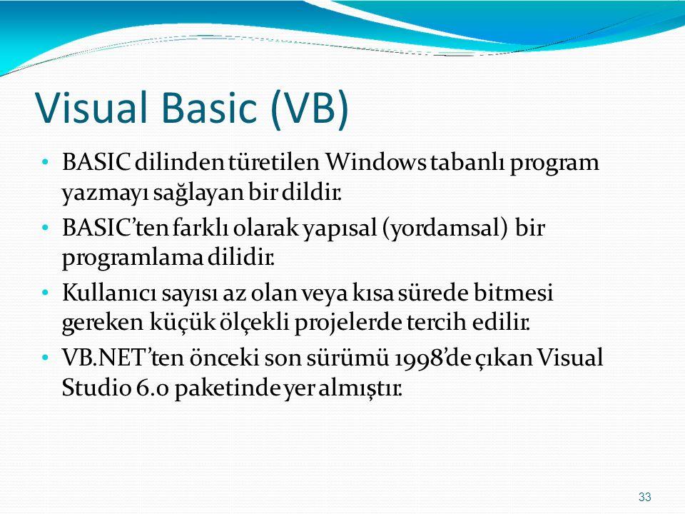 Visual Basic (VB) 33 BASIC dilinden türetilen Windows tabanlı program yazmayı sağlayan bir dildir. BASIC'ten farklı olarak yapısal (yordamsal) bir pro