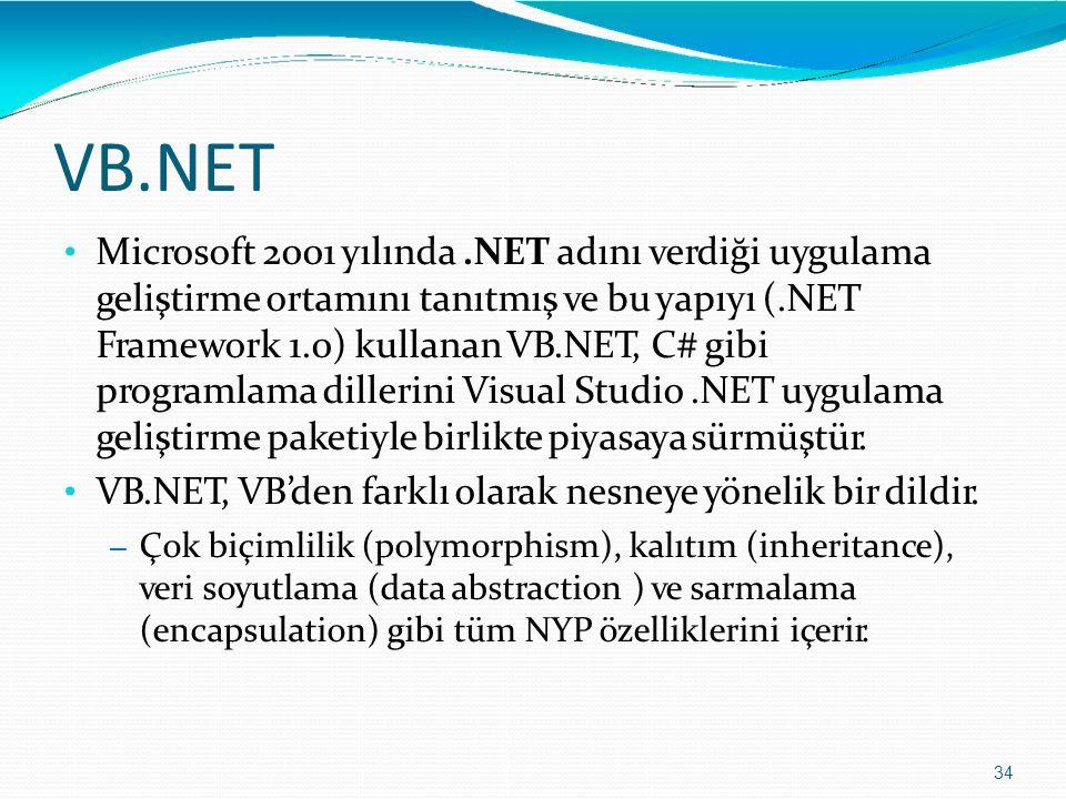 VB.NET 34 Microsoft 2001 yılında.NET adını verdiği uygulama geliştirme ortamını tanıtmış ve bu yapıyı (.NET Framework 1.0) kullanan VB.NET, C# gibi pr