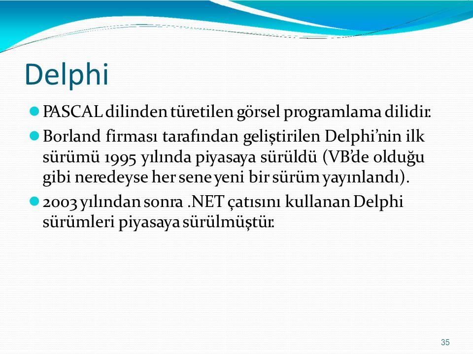 Delphi 35 PASCAL dilinden türetilen görsel programlama dilidir. Borland firması tarafından geliştirilen Delphi'nin ilk sürümü 1995 yılında piyasaya sü