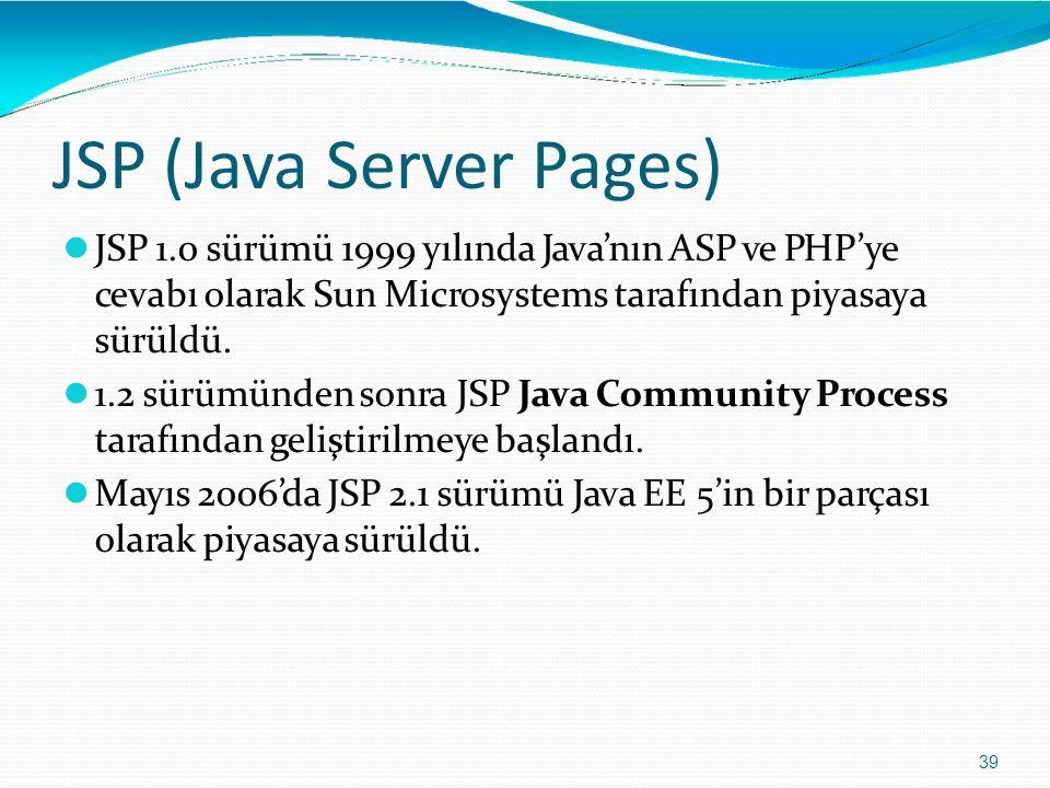 JSP (Java Server Pages) 39 JSP 1.0 sürümü 1999 yılında Java'nın ASP ve PHP'ye cevabı olarak Sun Microsystems tarafından piyasaya sürüldü. 1.2 sürümünd