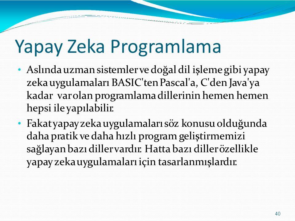 Yapay Zeka Programlama 40 Aslında uzman sistemler ve doğal dil işleme gibi yapay zeka uygulamaları BASIC'ten Pascal'a, C'den Java'ya kadarvar olan pro