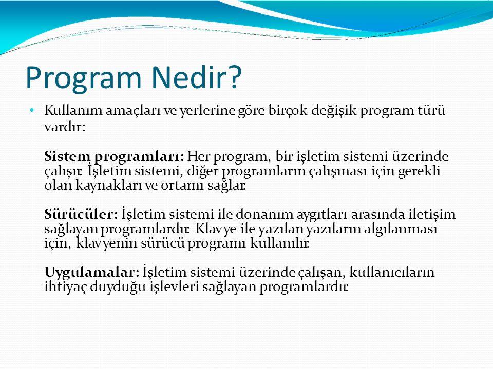 Program Nedir? Kullanım amaçları ve yerlerine göre birçok değişik program türü vardır: Sistem programları: Her program, bir işletim sistemi üzerinde ç