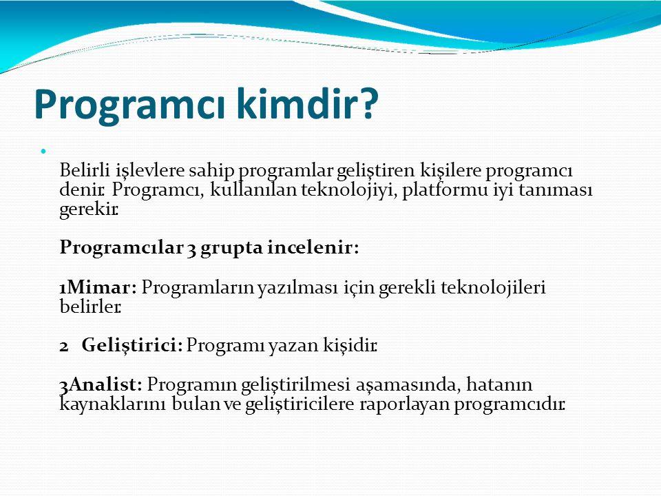 Programcı kimdir? Belirli işlevlere sahip programlar geliştiren kişilere programcı denir. Programcı, kullanılan teknolojiyi, platformu iyi tanıması ge