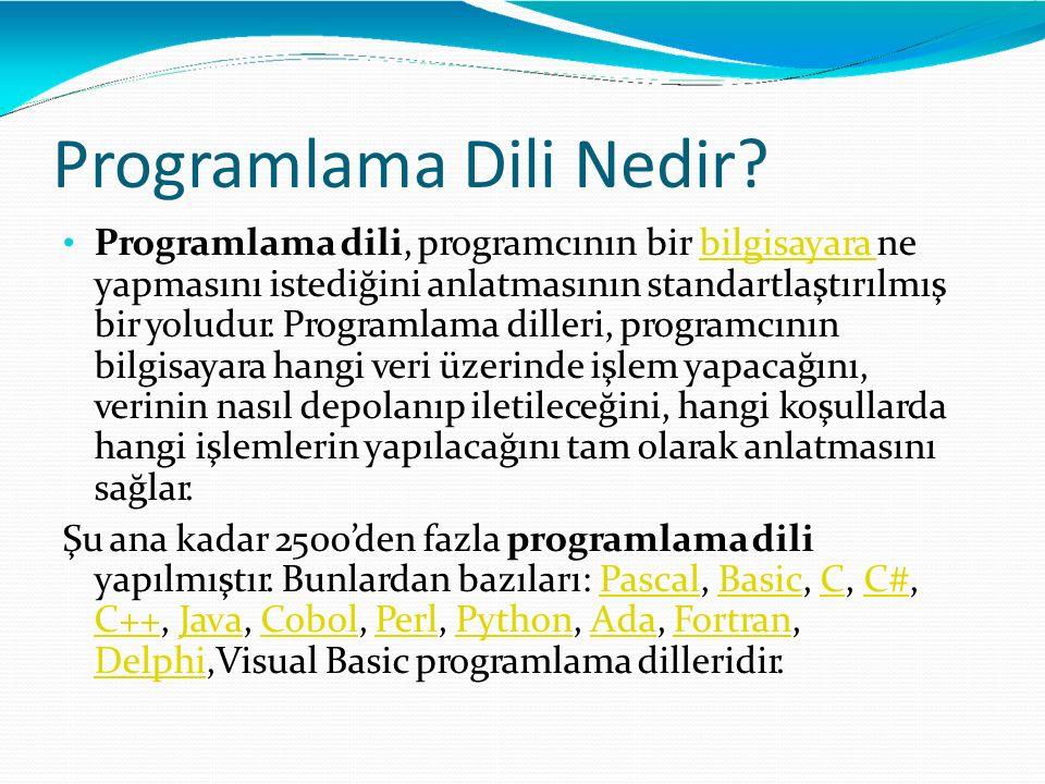 Programlama Dili Nedir? Programlama dili, programcının bir bilgisayara ne yapmasını istediğini anlatmasının standartlaştırılmış bir yoludur. Programla