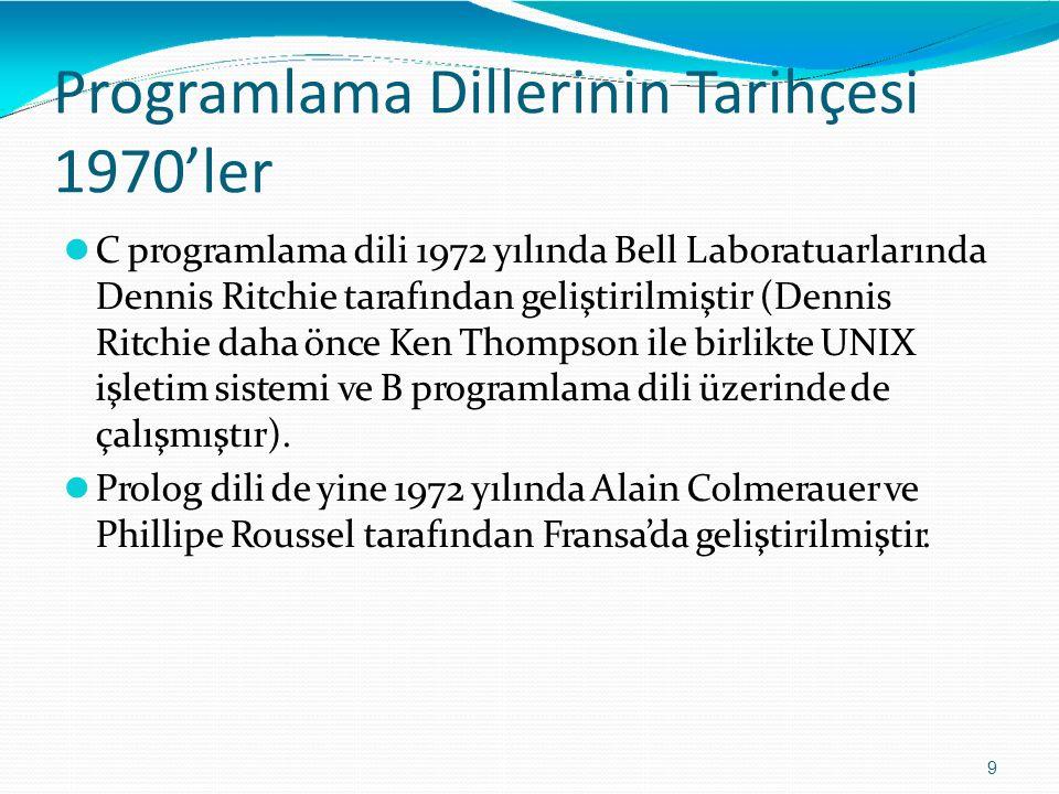 Programlama DillerininTarihçesi 1970'ler 9 C programlama dili 1972 yılında Bell Laboratuarlarında Dennis Ritchie tarafından geliştirilmiştir (Dennis R