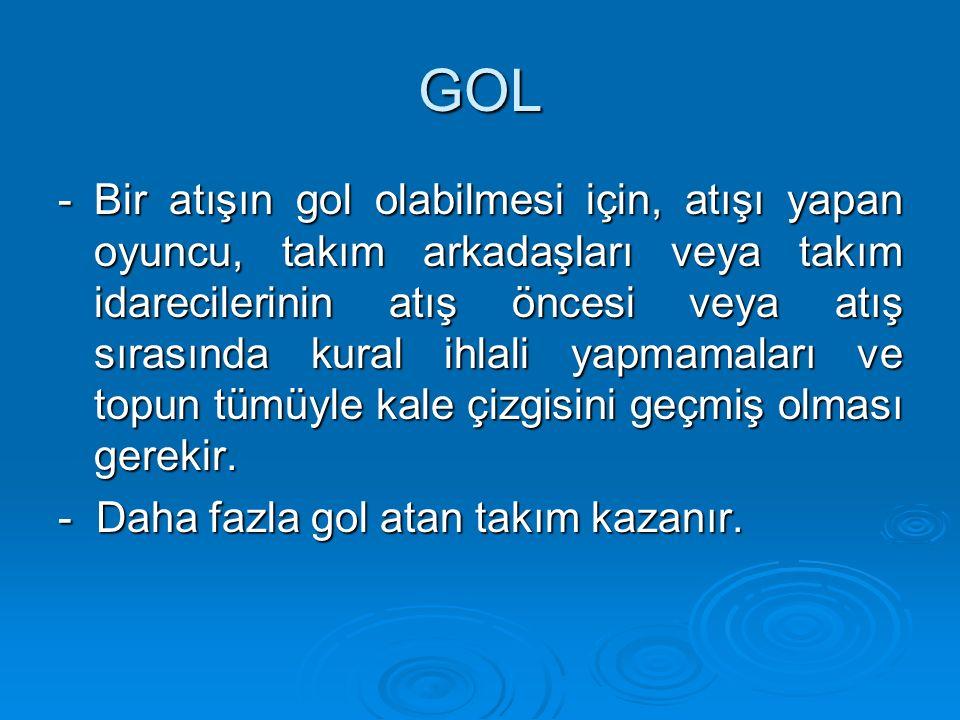 GOL - Bir atışın gol olabilmesi için, atışı yapan oyuncu, takım arkadaşları veya takım idarecilerinin atış öncesi veya atış sırasında kural ihlali yap