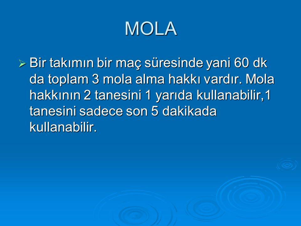 MOLA  Bir takımın bir maç süresinde yani 60 dk da toplam 3 mola alma hakkı vardır. Mola hakkının 2 tanesini 1 yarıda kullanabilir,1 tanesini sadece s