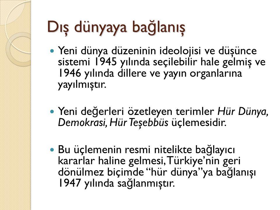 Dış dünyaya ba ğ lanış Yeni dünya düzeninin ideolojisi ve düşünce sistemi 1945 yılında seçilebilir hale gelmiş ve 1946 yılında dillere ve yayın organlarına yayılmıştır.