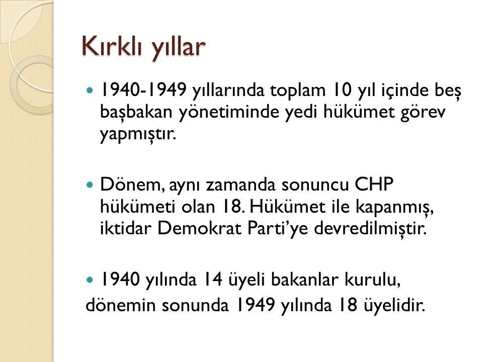 Kırklı yıllar 1940-1949 yıllarında toplam 10 yıl içinde beş başbakan yönetiminde yedi hükümet görev yapmıştır. Dönem, aynı zamanda sonuncu CHP hükümet