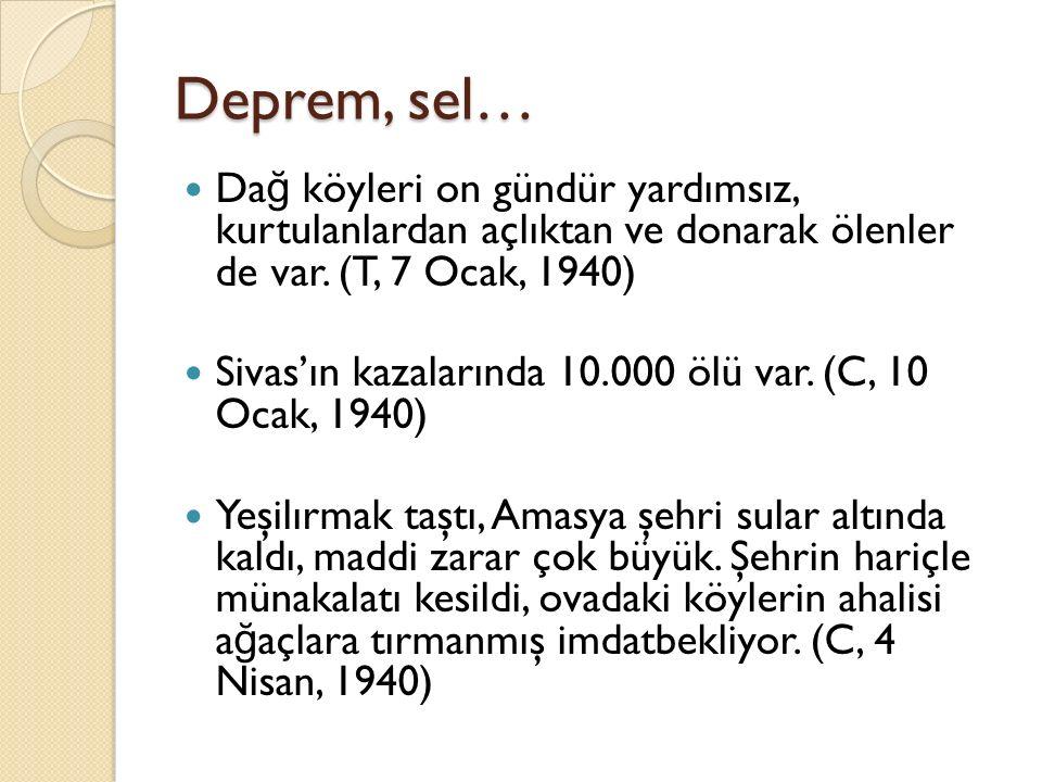 Deprem, sel… Da ğ köyleri on gündür yardımsız, kurtulanlardan açlıktan ve donarak ölenler de var. (T, 7 Ocak, 1940) Sivas'ın kazalarında 10.000 ölü va