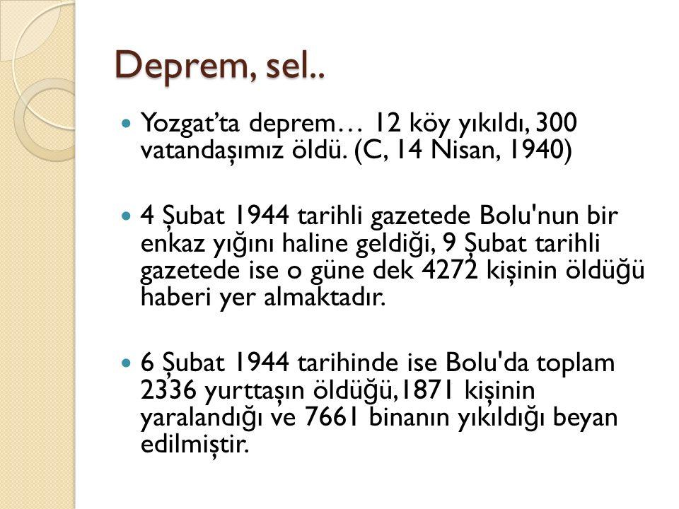 Deprem, sel.. Yozgat'ta deprem… 12 köy yıkıldı, 300 vatandaşımız öldü. (C, 14 Nisan, 1940) 4 Şubat 1944 tarihli gazetede Bolu'nun bir enkaz yı ğ ını h