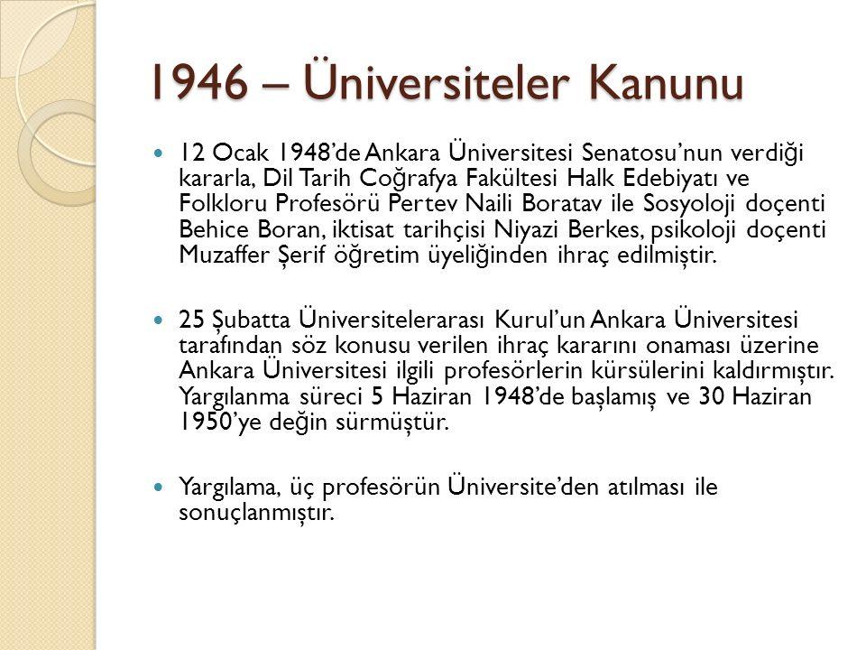 1946 – Üniversiteler Kanunu 12 Ocak 1948'de Ankara Üniversitesi Senatosu'nun verdi ğ i kararla, Dil Tarih Co ğ rafya Fakültesi Halk Edebiyatı ve Folkloru Profesörü Pertev Naili Boratav ile Sosyoloji doçenti Behice Boran, iktisat tarihçisi Niyazi Berkes, psikoloji doçenti Muzaffer Şerif ö ğ retim üyeli ğ inden ihraç edilmiştir.