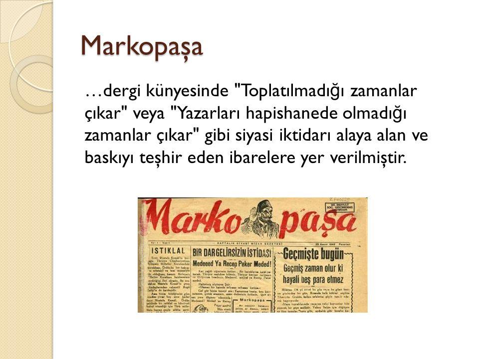 Markopaşa …dergi künyesinde