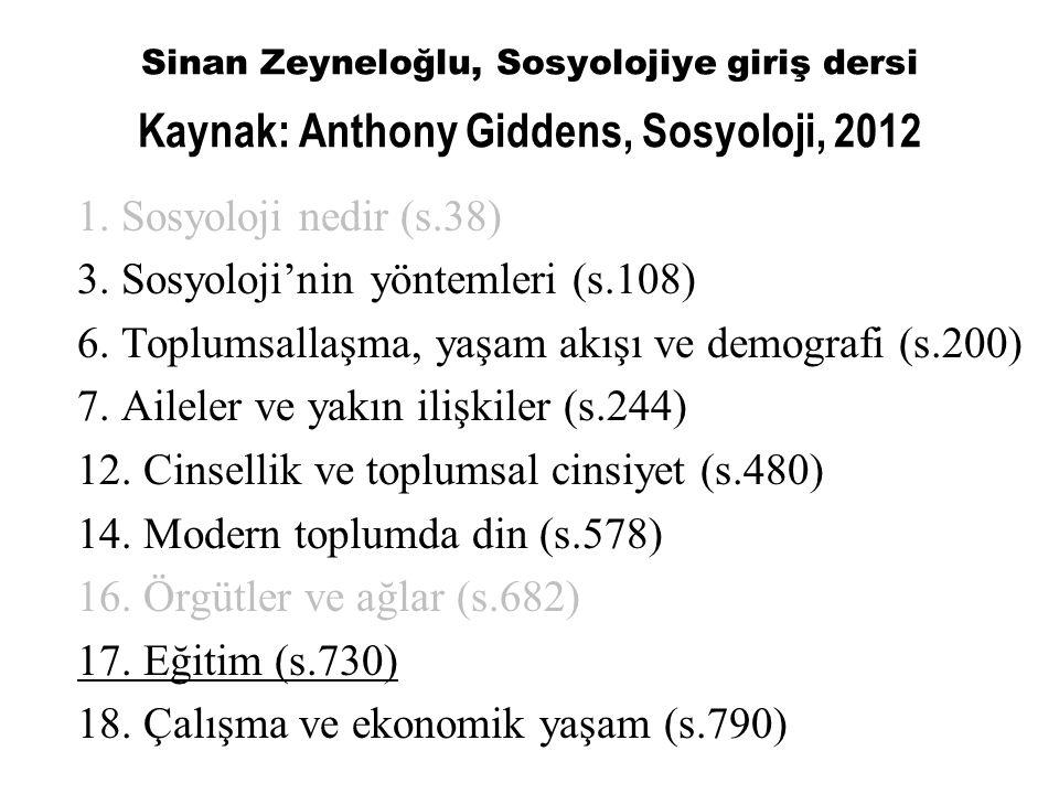 Sinan Zeyneloğlu, Sosyolojiye giriş dersi Kaynak: Anthony Giddens, Sosyoloji, 2012 1. Sosyoloji nedir (s.38) 3. Sosyoloji'nin yöntemleri (s.108) 6. To