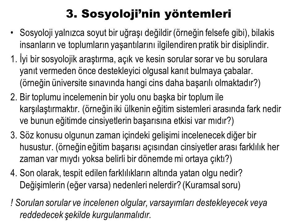 3. Sosyoloji'nin yöntemleri Sosyoloji yalnızca soyut bir uğraşı değildir (örneğin felsefe gibi), bilakis insanların ve toplumların yaşantılarını ilgil