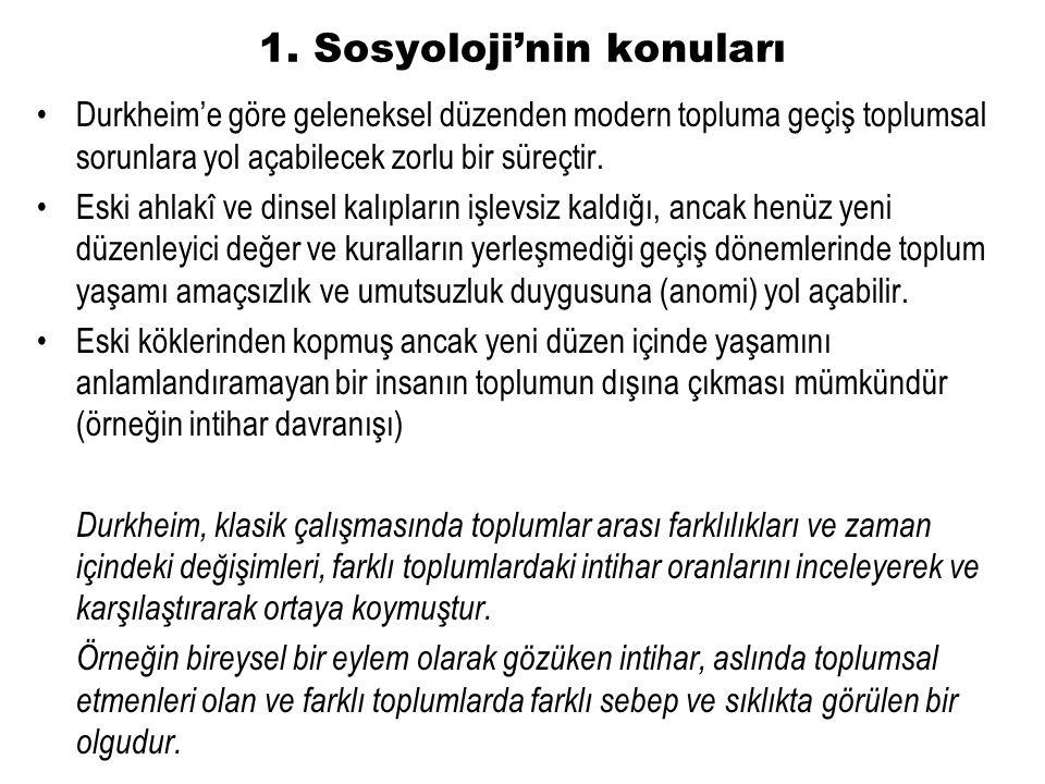 3. Sosyolojinin yöntemleri