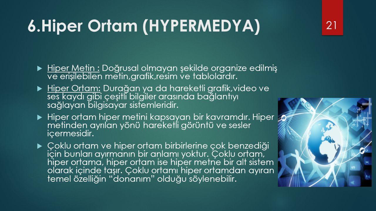 6.Hiper Ortam (HYPERMEDYA)  Hiper Metin : Doğrusal olmayan şekilde organize edilmiş ve erişilebilen metin,grafik,resim ve tablolardır.