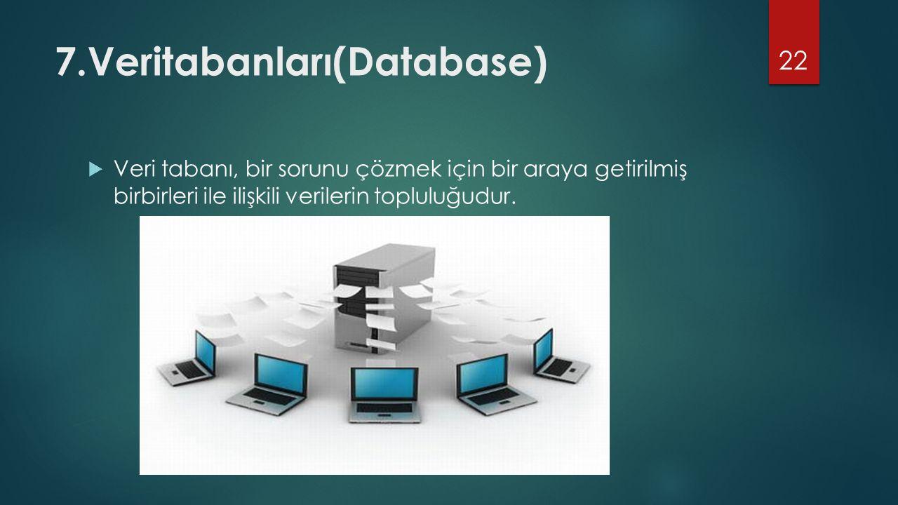 7.Veritabanları(Database)  Veri tabanı, bir sorunu çözmek için bir araya getirilmiş birbirleri ile ilişkili verilerin topluluğudur. 22