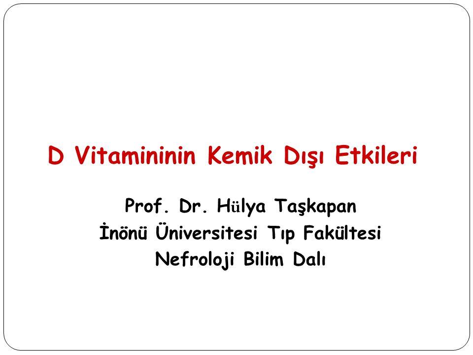 ÇalışmaÜlkeGrupDoz AmaçBitiş yılı DIVINEABD120 HD hastası (vitamin D <32 ng/ml) 50 000 IU D 2 haftalık veya 50 000 IU D 2 aylık veya plasebo Vitamin D 2 >32 ng/ml, cathelicidin ve sitokinler 2013 VITALABD20 000 yetişkin (erkek >50 ve kadın>55 yaş 2000 IU D 2 veya plasebo Kardiovascular hastalık ve kanser 2016 DOHealth8 Avrupa ülkesi2150 yetişkin (>70 yaş) 2000 IU D 2 veya plasebo Kemik krığı, enfeksiyon, kan basıncı, alt ekstremite fonksiyonu, bilinç 2017 VIDAYeni Zellenda18 000 yetişkin (>50 yaş) 200 000 D 3 bir kez(ve her haziran) ve 100 000 D 3 aylık veya plasebo Kardiovascküler hastalık KOAH da respiratuar hastalık, kemik kırığı 2017 FINDFinlandiya18 000 yetişkin (erkek >60 ve kadın >65 yaş) 3200 D 3 günlük, 1600 D 3 günlük veya plasebo Kardiovasküler hastalık, kanser ve DM 2019 VIDALİngiltere20 000 yetişkin (65–85 yaş) 100 000 IU D 3 aylık, veya plasebo Mortalite, morbidite ve vitamin D düzeyleri 2020