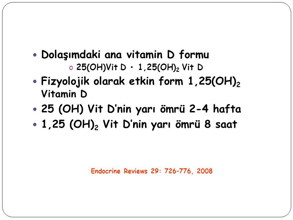 Dolaşımdaki ana vitamin D formu o25(OH)Vit D 1,25(OH) 2 Vit D Fizyolojik olarak etkin form 1,25(OH) 2 Vitamin D 25 (OH) Vit D'nin yarı ömrü 2-4 hafta