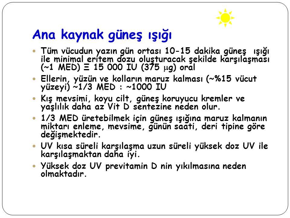 Güneş ışığı- UV 290-315nm Zenith açısı sabah erken ve akşam saatlerinde D vitamini sentezi efektif olmaz Ülkemizde vitamin D sentezi Nisan-Kasım ayları arasında