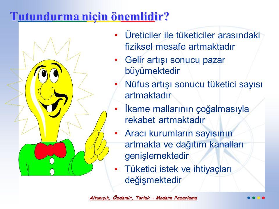 Altunışık, Özdemir, Torlak – Modern Pazarlama Tutundurma Bir işletmenin mal veya hizmetinin satışını kolaylaştırmak amacıyla üretici- pazarlamacı işle