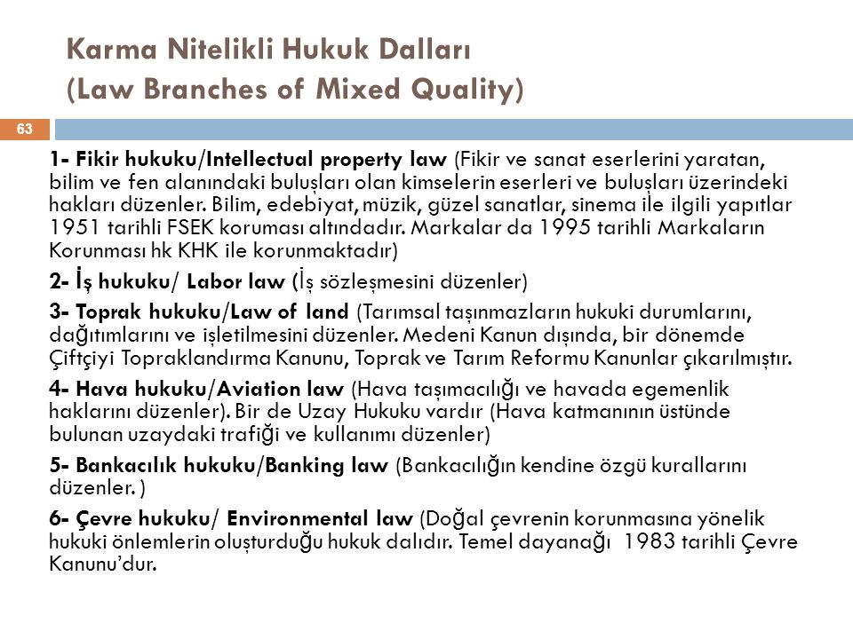 Karma Nitelikli Hukuk Dalları (Law Branches of Mixed Quality) 1- Fikir hukuku/Intellectual property law (Fikir ve sanat eserlerini yaratan, bilim ve f