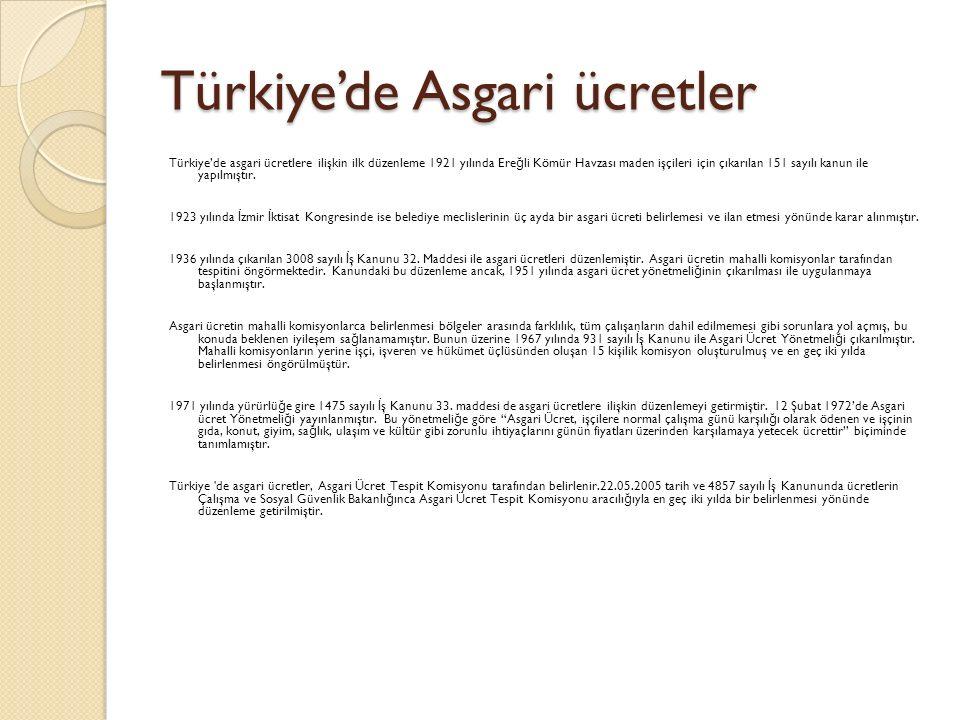 Türkiye'de Asgari ücretler Türkiye'de asgari ücretlere ilişkin ilk düzenleme 1921 yılında Ere ğ li Kömür Havzası maden işçileri için çıkarılan 151 say