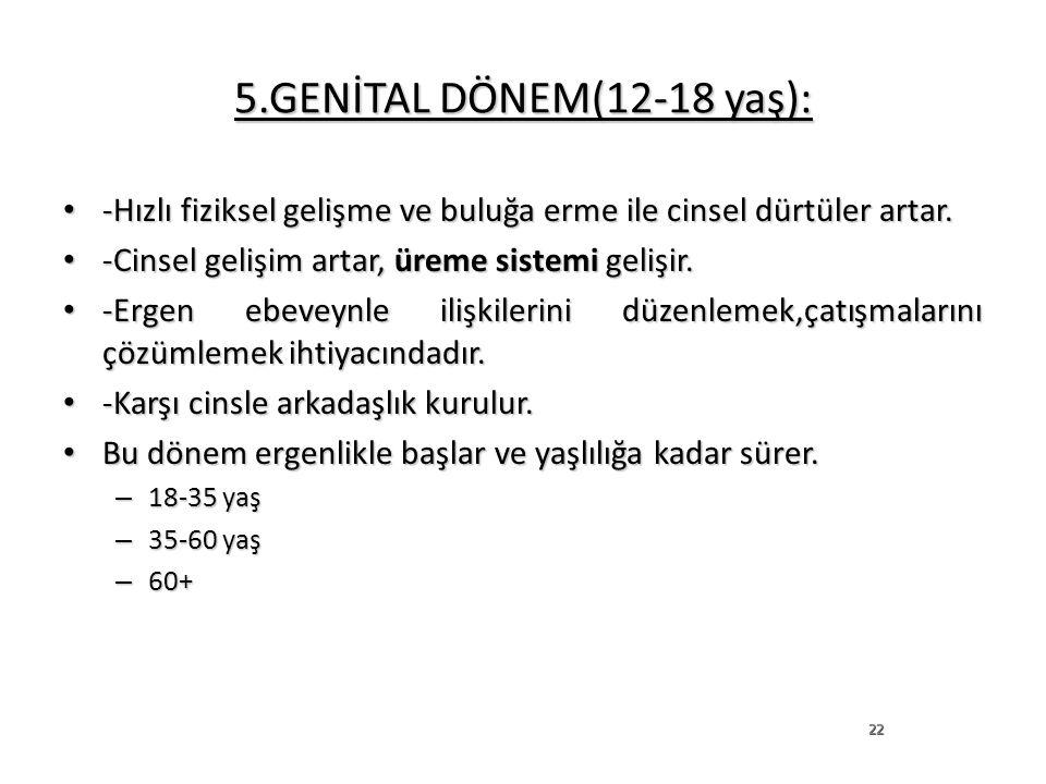 5.GENİTAL DÖNEM(12-18 yaş): -Hızlı fiziksel gelişme ve buluğa erme ile cinsel dürtüler artar. -Hızlı fiziksel gelişme ve buluğa erme ile cinsel dürtül