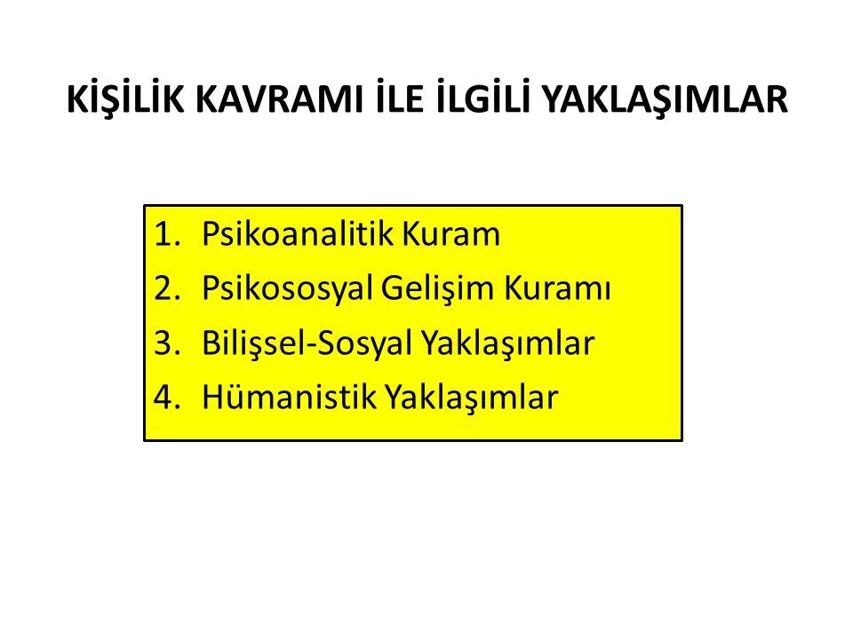 KİŞİLİK KAVRAMI İLE İLGİLİ YAKLAŞIMLAR 1.Psikoanalitik Kuram 2.Psikososyal Gelişim Kuramı 3.Bilişsel-Sosyal Yaklaşımlar 4.Hümanistik Yaklaşımlar