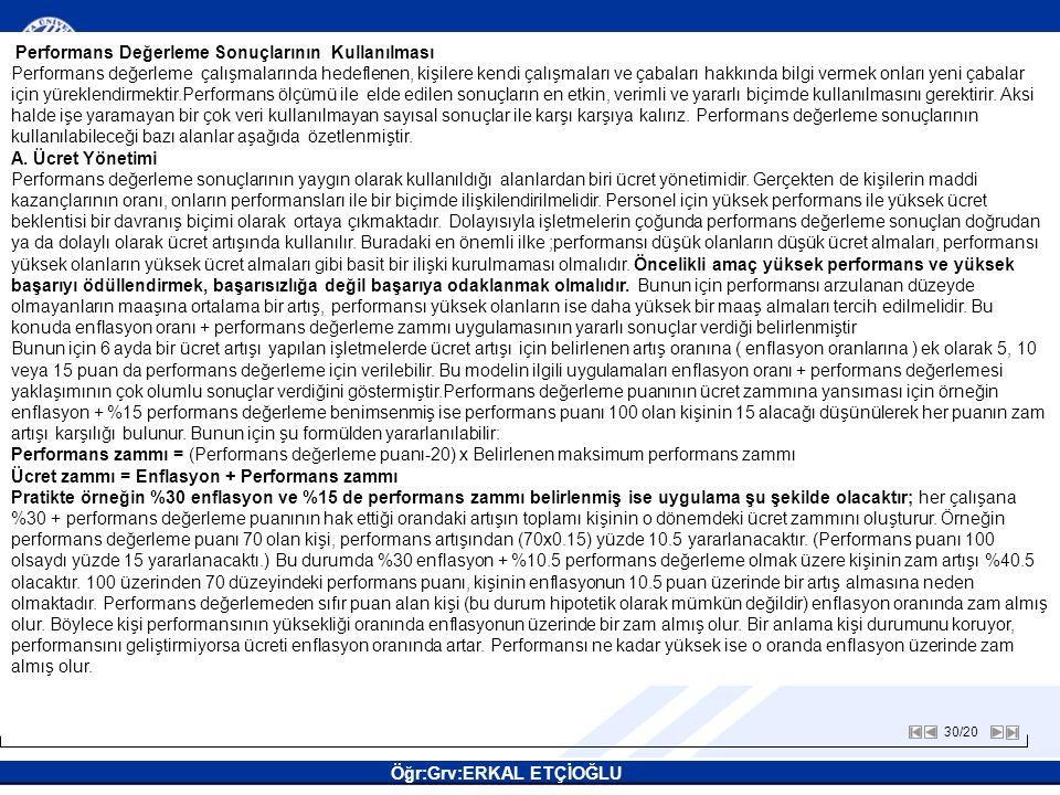30/20 SAKARYA ÜNİVERSİTESİ Öğr:Grv:ERKAL ETÇİOĞLU İNSAN KAYNAKLARI YÖNETİMİ İNSAN KAYNAKLARI YÖNETİMİ Performans Değerleme Sonuçlarının Kullanılması P