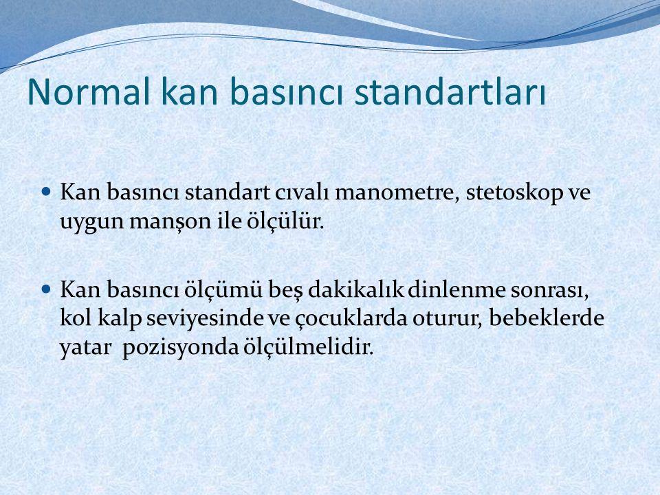 Normal kan basıncı standartları Kan basıncı standart cıvalı manometre, stetoskop ve uygun manşon ile ölçülür.