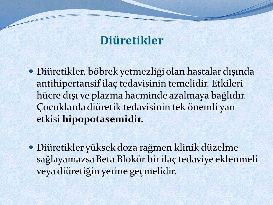 Beta Blokörler, Hipertiroidizmle ilişkili hiperdinamik tip HT'si olan adolesanlarda ise Beta Bloker tercih edilir. Diyabet ve astım hastalarında riskl