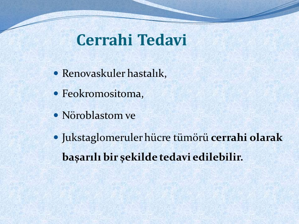 Sistemik HT'nin tedavi edilebilir sebepleri Tabloda verilmiştir.