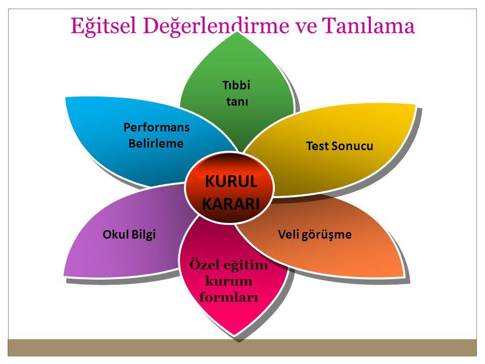 Eğitsel Değerlendirme ve Tanılama Performans Belirleme Tıbbi tanı Test Sonucu Veli görüşmeOkul Bilgi Özel eğitim kurum formları KURUL KARARI