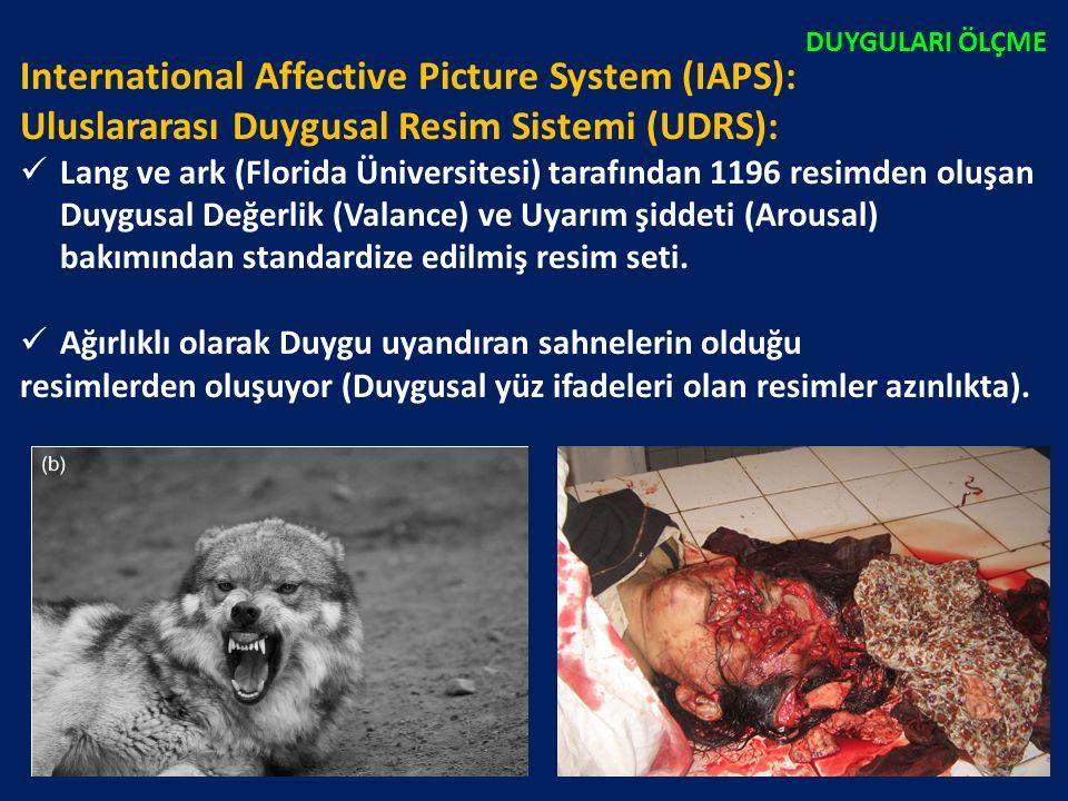 International Affective Picture System (IAPS): Uluslararası Duygusal Resim Sistemi (UDRS): Lang ve ark (Florida Üniversitesi) tarafından 1196 resimden