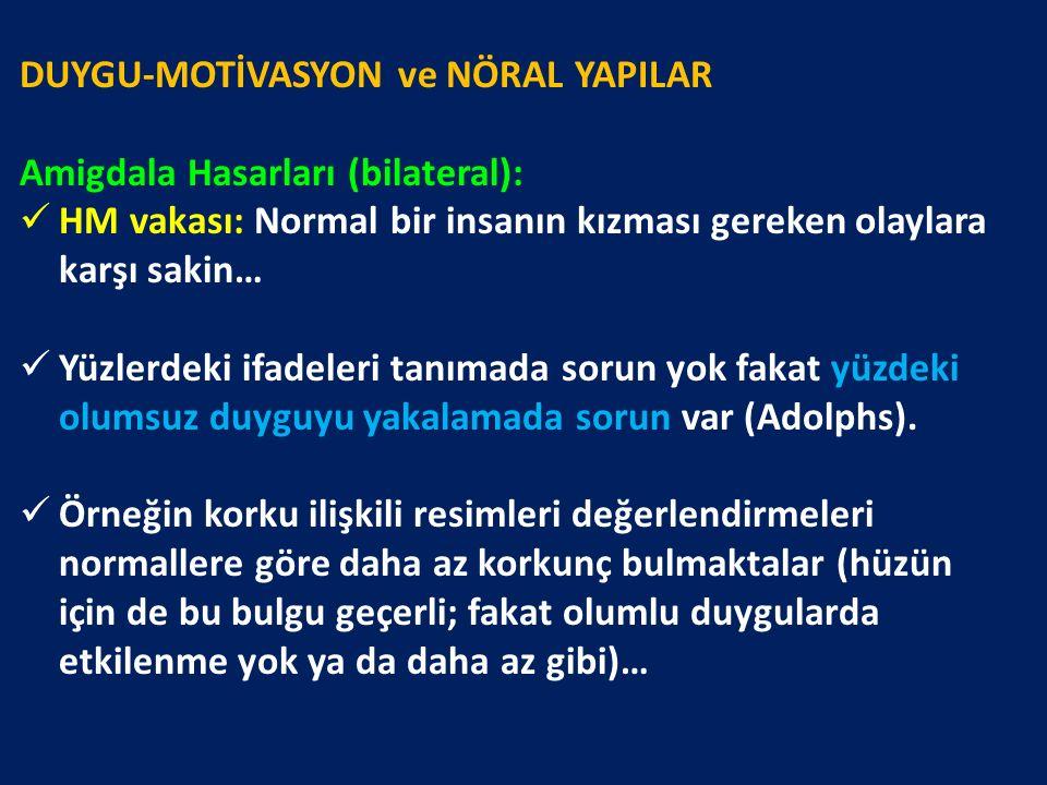 DUYGU-MOTİVASYON ve NÖRAL YAPILAR Amigdala Hasarları (bilateral): HM vakası: Normal bir insanın kızması gereken olaylara karşı sakin… Yüzlerdeki ifade