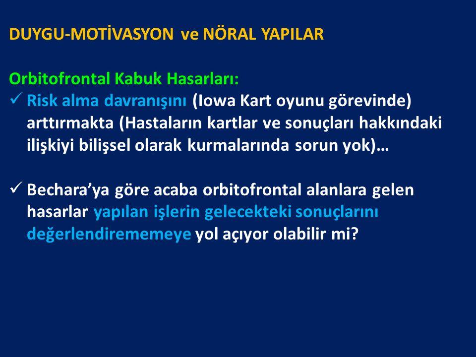 DUYGU-MOTİVASYON ve NÖRAL YAPILAR Orbitofrontal Kabuk Hasarları: Risk alma davranışını (Iowa Kart oyunu görevinde) arttırmakta (Hastaların kartlar ve